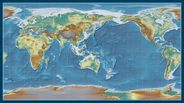 Afghanistan zoomed on a global relief map in the Brown Stereographic projection. Prime meridian rotating