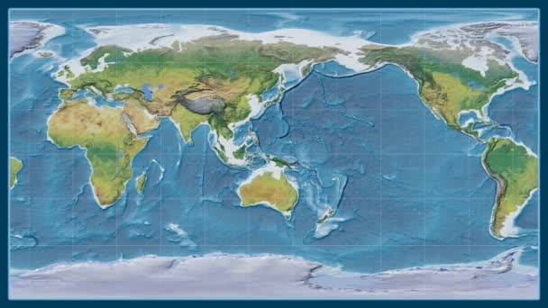 Afghanistan zoomed on a global topographic map in the Brown Stereographic projection. Prime meridian rotating