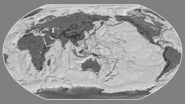 Afghanistan zoomed on a global grayscale contrasted map in the Wagner VI projection. Prime meridian rotating