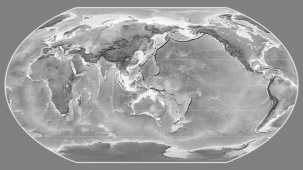 Afghanistan zoomed on a global grayscale map in the Wagner VI projection. Prime meridian rotating