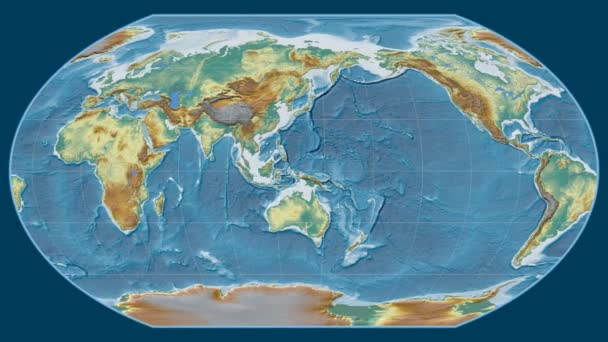 Afghanistan zoomed on a global relief map in the Wagner VI projection. Prime meridian rotating