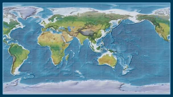 Angola je zvětšeno na globální topografickou mapu v Brown stereografická projekce. Základní poledník rotační