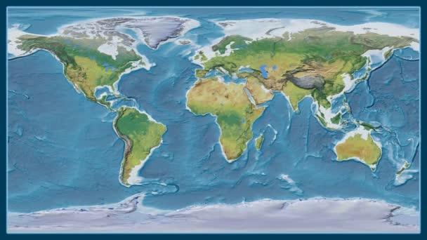 Bolívie je zvětšeno na globální topografickou mapu v Brown stereografická projekce. Základní poledník rotační