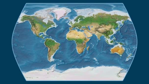 Bolívie je zvětšeno na globální satelitní mapa Atlas časy projekcí. Základní poledník rotační