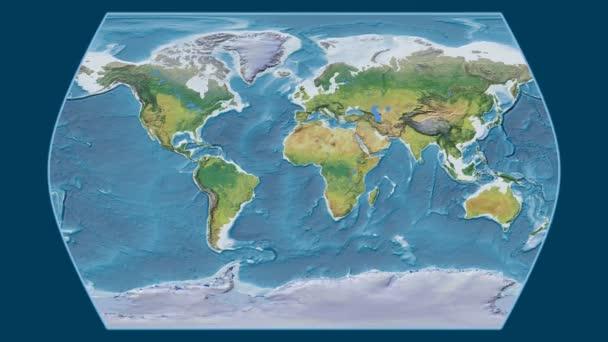 Kolumbie je zvětšeno na globální topografickou mapu v Times Atlas projekce. Základní poledník rotační