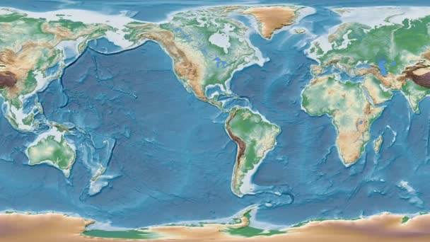 Armenia area presented against the global physical map in the Patterson  Cylindrical projection with animated oblique transformation