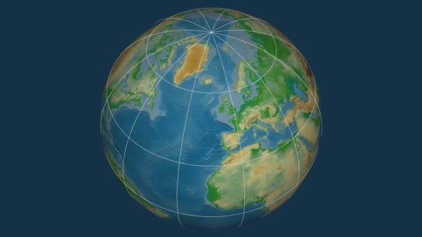 Zoom-in na Velká Británie na celém světě. Kapitál, administrativní hranice a nitkového kříže. Barevná mapa se fyzické