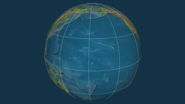 Zoom-in na Hawaii USA na celém světě. Kapitál, administrativní hranice a nitkového kříže. Barevná mapa se fyzické