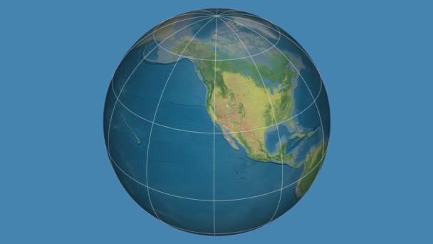Zoom-in na pevnině Spojených států na celém světě. Kapitál, administrativní hranice a nitkového kříže. Hlavní rysy fyziografickými