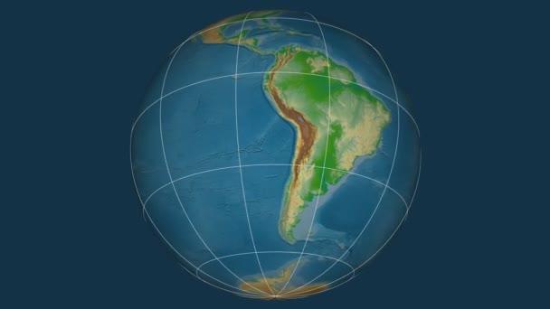 Zoom-in v Uruguay extrudované na celém světě. Kapitál, administrativní hranice a nitkového kříže. Barevná mapa se fyzické