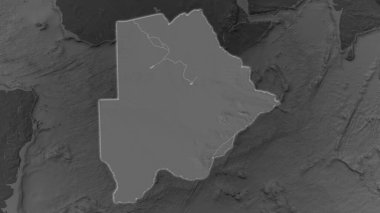 Botswana area enlarged and glowed on a darkened background of its surroundings. Bilevel bumped elevation map