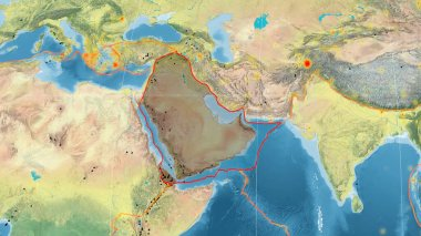 Arabian tectonic plate outlined on the global topographic map in the Mollweide projection. 3D rendering