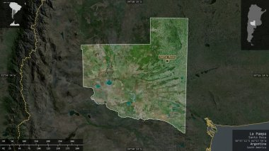 La Pampa, province of Argentina. Satellite imagery. Shape presented against its country area with informative overlays. 3D rendering