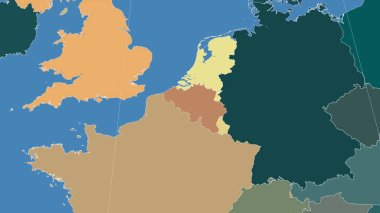 Belgium and its neighborhood. Distant oblique perspective - no outline. color map of administrative divisions