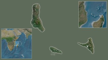 Close-up of Comoros and its location in the region and in the center of a large-scale world map. Satellite imagery