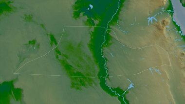 Al Minya, governorate of Egypt. Colored shader data with lakes and rivers. Shape outlined against its country area. 3D rendering