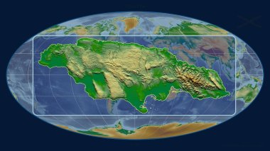 Zoomed-in view of Jamaica outline with perspective lines against a global map in the Mollweide projection. Shape centered. color physical map