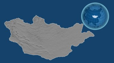 Mongolia. Globe with the shape of the country against zoomed map with its outline isolated on the blue background. grayscale elevation map