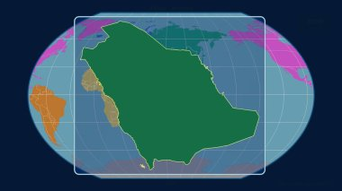 Zoomed-in view of Saudi Arabia outline with perspective lines against a global map in the Kavrayskiy projection. Shape centered. color map of continents