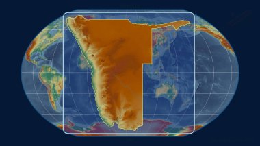Zoomed-in view of Namibia outline with perspective lines against a global map in the Kavrayskiy projection. Shape centered. topographic relief map