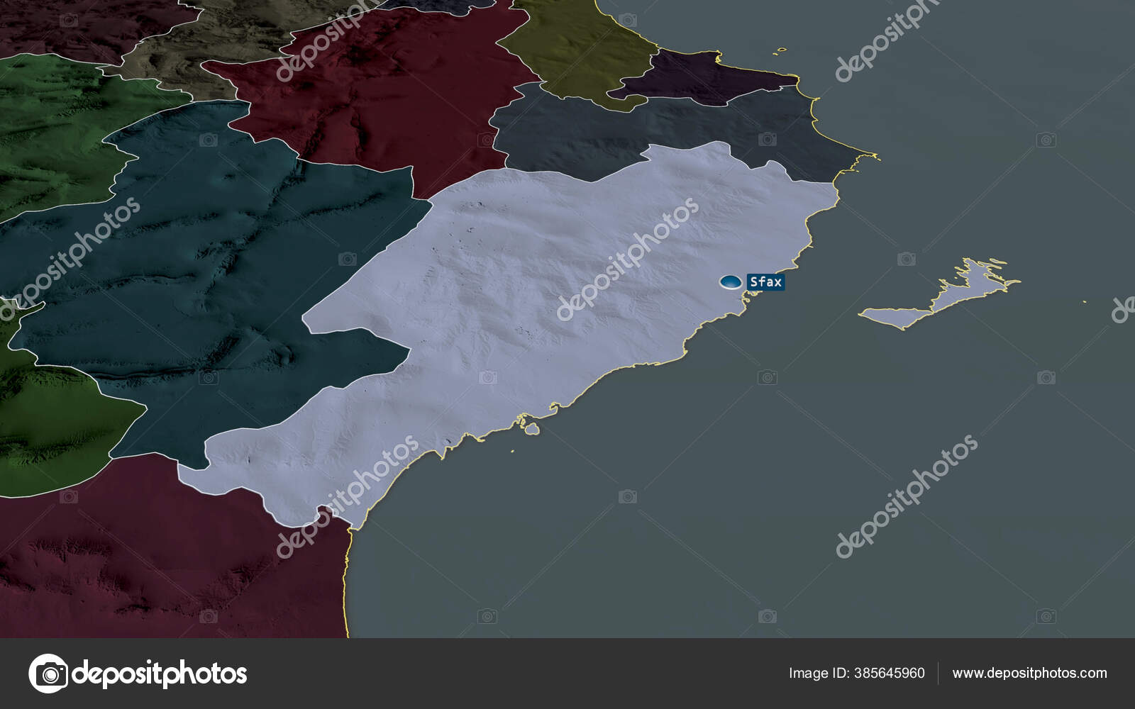 Picture of: Sfax Governorate Tunisia Zoomed Highlighted Capital Colored Bumped Map Administrative Stock Photo C Yarr65 385645960