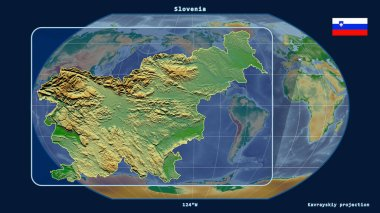 Zoomed-in view of Slovenia outline with perspective lines against a global map in the Kavrayskiy projection. Shape on the left side. color physical map