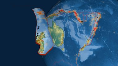Kermadec tectonic plate extruded and presented against the globe. topographic relief map. 3D rendering