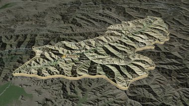Zoom in on Panjshir (province of Afghanistan) extruded. Oblique perspective. Satellite imagery. 3D rendering