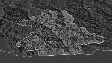 Zoom in on Zhemgang (district of Bhutan) outlined. Oblique perspective. Bilevel elevation map with surface waters. 3D rendering