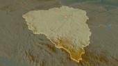 Přiblížit Plzeňský (oblast České republiky) vytlačen. Úhlová perspektiva. Topografická reliéfní mapa s hladinou. 3D vykreslování