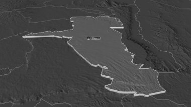 Zoom in on Uasin Gishu (county of Kenya) extruded. Oblique perspective. Bilevel elevation map with surface waters. 3D rendering