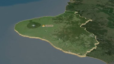 Zoom in on Taranaki (regional council of New Zealand) extruded. Oblique perspective. Satellite imagery. 3D rendering