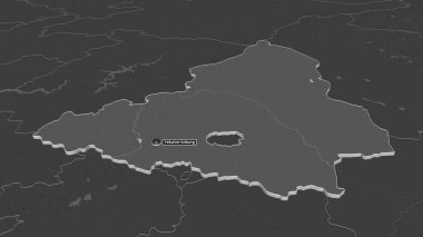 Zoom in on Sverdlovsk (region of Russia) extruded. Oblique perspective. Bilevel elevation map with surface waters. 3D rendering