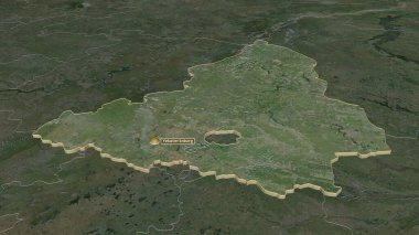 Zoom in on Sverdlovsk (region of Russia) extruded. Oblique perspective. Satellite imagery. 3D rendering