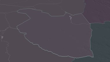 Zoom in on Al Qadarif (state of Sudan) outlined. Oblique perspective. Colored and bumped map of the administrative division with surface waters. 3D rendering