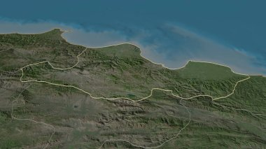 Zoom in on Samsun (province of Turkey) outlined. Oblique perspective. Satellite imagery. 3D rendering