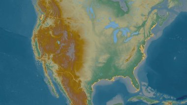 Outlined shape of the United States area. Topographic relief map with surface waters. 3D rendering
