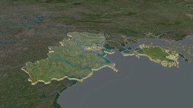 Zoom in on Hai Phong (city of Vietnam) extruded. Oblique perspective. Satellite imagery. 3D rendering