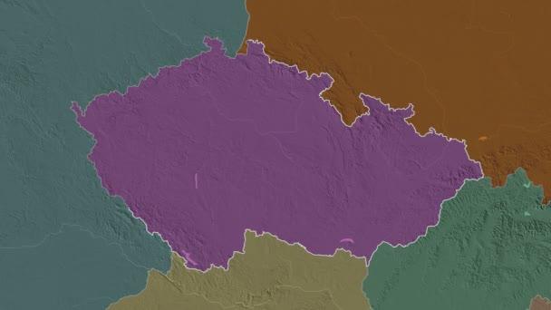 Karlovarskij se vyprostil. Česká republika. Stereografická administrativní mapa