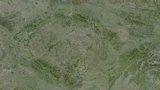 Karlovarskij se vyprostil. Česká republika. Stereografická satelitní mapa