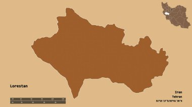 Shape of Lorestan, province of Iran, with its capital isolated on solid background. Distance scale, region preview and labels. Composition of patterned textures. 3D rendering