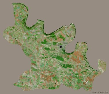 Shape of Soroca, district of Moldova, with its capital isolated on a solid color background. Satellite imagery. 3D rendering