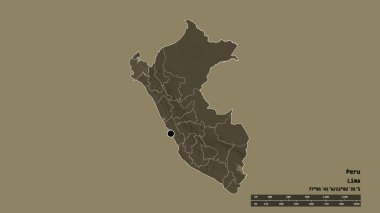 Desaturated shape of Peru with its capital, main regional division and the separated Piura area. Labels. Colored elevation map. 3D rendering