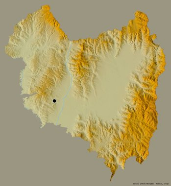 Shape of Covasna, county of Romania, with its capital isolated on a solid color background. Topographic relief map. 3D rendering