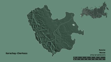 Shape of Karachay-Cherkess, republic of Russia, with its capital isolated on solid background. Distance scale, region preview and labels. Colored elevation map. 3D rendering