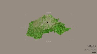 Area of Jablanicki, district of Serbia, isolated on a solid background in a georeferenced bounding box. Labels. Satellite imagery. 3D rendering