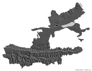 Shape of Leninabad, region of Tajikistan, with its capital isolated on white background. Bilevel elevation map. 3D rendering