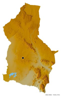 Shape of Dodoma, region of Tanzania, with its capital isolated on white background. Topographic relief map. 3D rendering