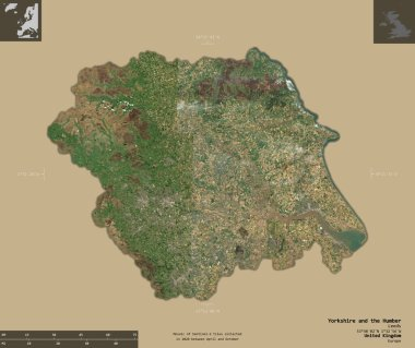 Yorkshire and the Humber, region of United Kingdom. Sentinel-2 satellite imagery. Shape isolated on solid background with informative overlays. 3D rendering