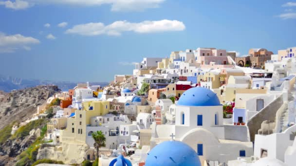White houses and blue roofs Santorini Greece.